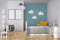 Blue nursery interior, armchair and posters. White and blue nursery interior with a gray bed, a yellow armchair, cloud decoration and two vertical posters. 3d Royalty Free Stock Image