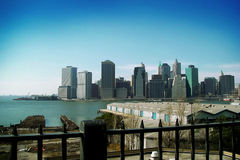 Blue NY. View of Manhattan from downtown Brooklyn Royalty Free Stock Photography