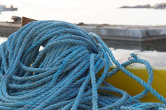 Blue nylon rope in the harbor Royalty Free Stock Image