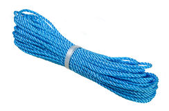 Blue nylon rope over white Stock Photography