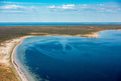 Blue ocean aerial view in shark bay Australia. Aerial view in shark bay Monkey Mia Australia stock photography