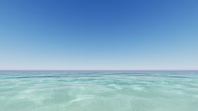 Blue ocean and clear sky 3D render Stock Images