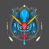 blue ocean gundam and sacred geometry stock illustration