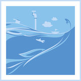 Blue ocean illustration. Illustration of a cartoon ocean landscape with submarine and sailing boats. there is a big fish who stalking prey Royalty Free Stock Image