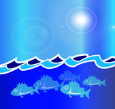 Blue Ocean Illustration Fish. Illustration of fish swimming under the ocean waves Royalty Free Stock Photo