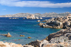 Blue Ocean island La Maddalena. Color and transparency of the sea of Sardinia Royalty Free Stock Photography