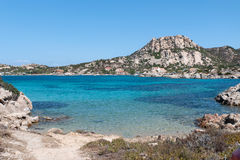 Blue Ocean island La Maddalena. Color and transparency of the sea of Sardinia Royalty Free Stock Photo
