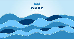 Blue ocean sea wave vector background. Illustration Royalty Free Stock Photography