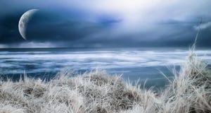 Blue ocean shore. A dreamy photograph of a blue ocean shore royalty free stock photo