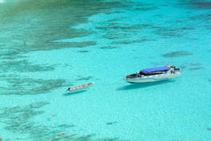 Blue Ocean at Similan Island Thailand. Boat on Blue Ocean Clear Water Stock Image