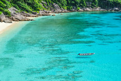 Blue Ocean at Similan Island Thailand. Boat on Blue Ocean Clear Water Royalty Free Stock Images