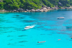 Blue Ocean at Similan Island Thailand. Boat on Blue Ocean Clear Water Royalty Free Stock Image