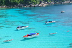 Blue Ocean at Similan Island Thailand. Boat on Blue Ocean Clear Water Stock Photos