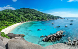 Blue Ocean at Similan Island Thailand. Boat on Blue Ocean Clear Water Stock Images