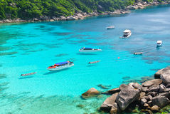 Blue Ocean at Similan Island Thailand. Boat on Blue Ocean Clear Water Royalty Free Stock Photo