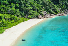 Blue Ocean at Similan Island Thailand. Blue Ocean Clear Water Blue Sky and White Beach Royalty Free Stock Photography