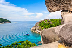Blue Ocean at Similan Island Thailand. Blue Ocean Clear Water Blue Sky and White Beach View Point Stock Image