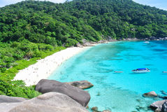 Blue Ocean at Similan Island Thailand. Blue Ocean Clear Water Blue Sky and White Beach View Point Stock Images