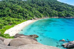 Blue Ocean at Similan Island Thailand. Blue Ocean Clear Water Blue Sky and White Beach View Point Royalty Free Stock Photos