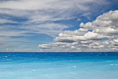 Blue ocean and sky. Beautiful landscape of blue ocean and sky stock photos