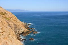 Blue ocean and steep cliff. California coast, Point Reyes NS Royalty Free Stock Image