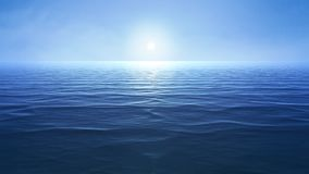 a blue ocean with sun over the horizon vector illustration