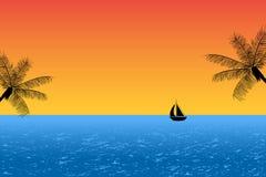 Blue ocean at sunset Stock Photos