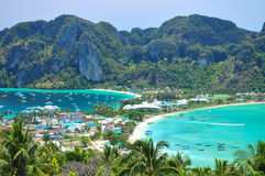 Blue Ocean View Point At Phi Phi Island  Thailand. Blue Ocean Clear Water Blue Sky and White Beach Royalty Free Stock Images
