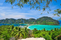 Blue Ocean View Point At Phi Phi Island  Thailand. Blue Ocean Clear Water Blue Sky and White Beach Stock Image