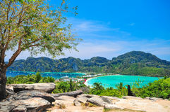 Blue Ocean View Point At Phi Phi Island  Thailand. Blue Ocean Clear Water Blue Sky and White Beach Royalty Free Stock Photos