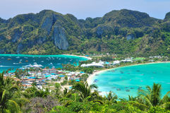 Blue Ocean View Point At Phi Phi Island  Thailand. Blue Ocean Clear Water Blue Sky and White Beach Royalty Free Stock Photo