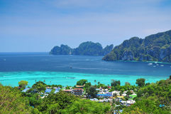 Blue Ocean View Point At Phi Phi Island  Thailand. Blue Ocean Clear Water Blue Sky and White Beach Royalty Free Stock Photography