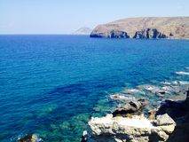 Blue ocean view. View of the ocean with blue water in Greece Royalty Free Stock Photos