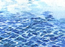 Blue ocean watercolor waves. Hand drawn illustration. royalty free illustration