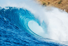 Blue Ocean Wave. View from in the Water Stock Photo
