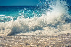 Blue ocean wave with splash. Royalty Free Stock Photography
