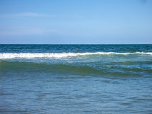 Blue ocean waves. The Atlantic ocean horizon with calm waves stock images