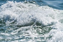 Blue Ocean with waves and clear blue sky Blue water surface stock images