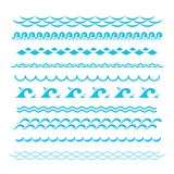 Blue ocean waves. Sea wave vector silhouette signs. Water graphic elements isolated Royalty Free Stock Image
