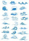 Blue ocean waves set. Curling and breaking, with swirls and in undulating patterns, for marine or nautical themed concepts, vector illustration isolated on Stock Image