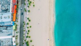 Blue Ocean and White Sand Top View Royalty Free Stock Photos