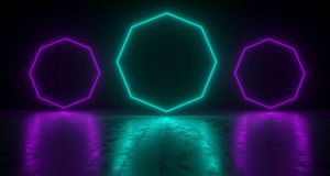 Blue Octagon Shaped Neon Lights With Reflections On The Floor. 3. D Rendering  Illustration Royalty Free Stock Image