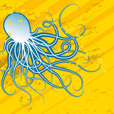 Blue octopus. Abstract blue octopus on the yellow background vector illustration