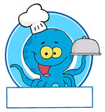 Blue octopus chef Stock Image