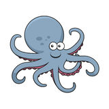Blue octopus with curved tentacles Stock Photos