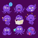 Blue Octopus Emoji Vector Set Stock Photography