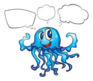 A blue octopus thinking Stock Photos
