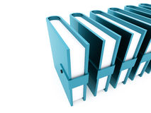Blue office buletins books rendered. On white background Royalty Free Stock Photo