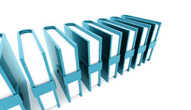 Blue office buletins books rendered. On white background Stock Image