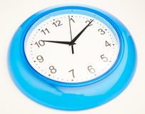 Blue office clock Royalty Free Stock Photo